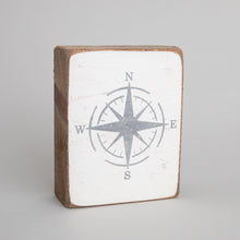 Load image into Gallery viewer, Grey Compass Decorative Wooden Block