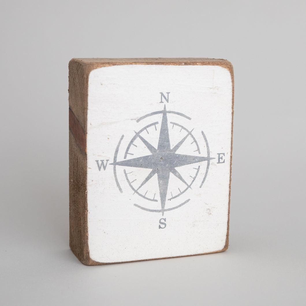 Grey Compass Decorative Wooden Block