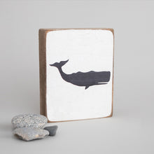 Load image into Gallery viewer, Black Whale Decorative Wooden Block