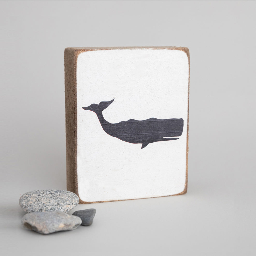 Black Whale Decorative Wooden Block