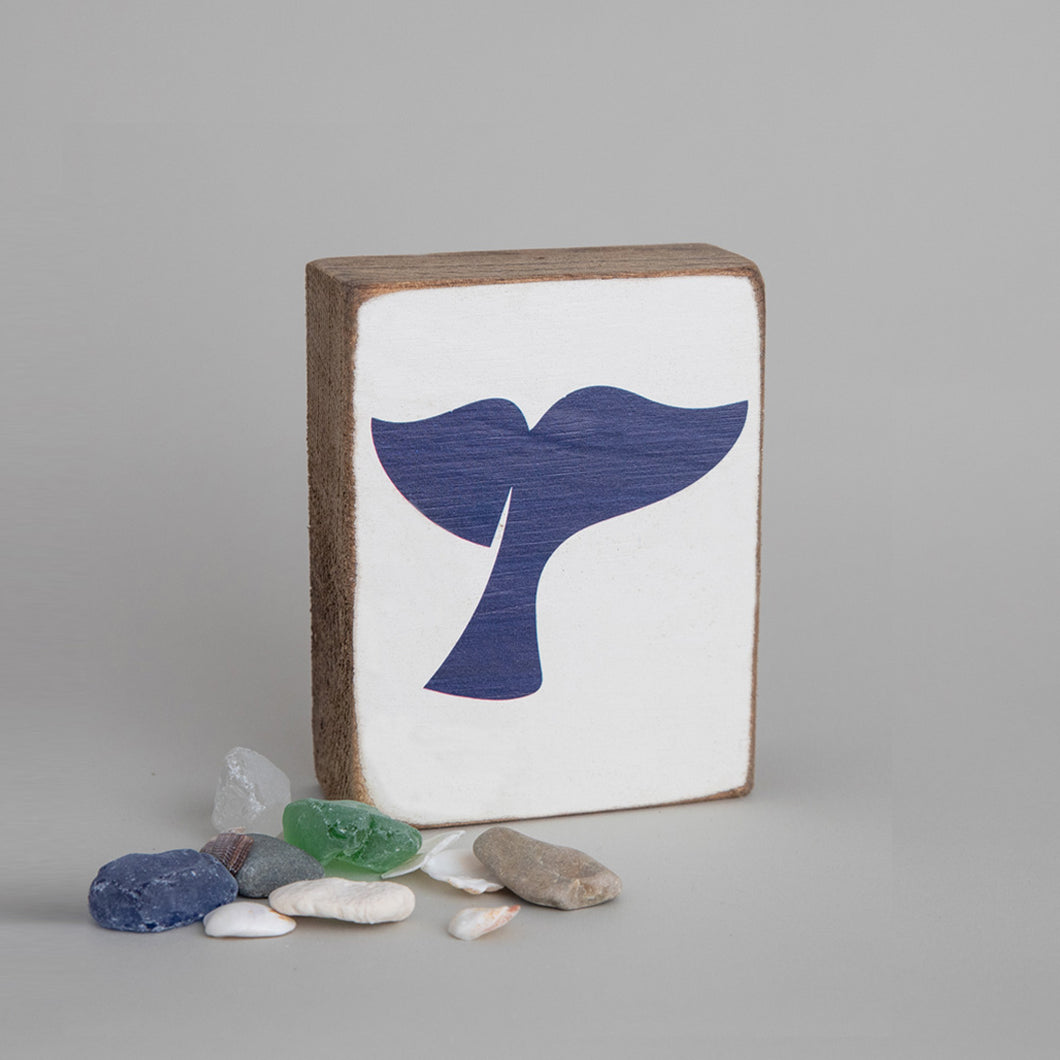 Whale Tail Decorative Wooden Block