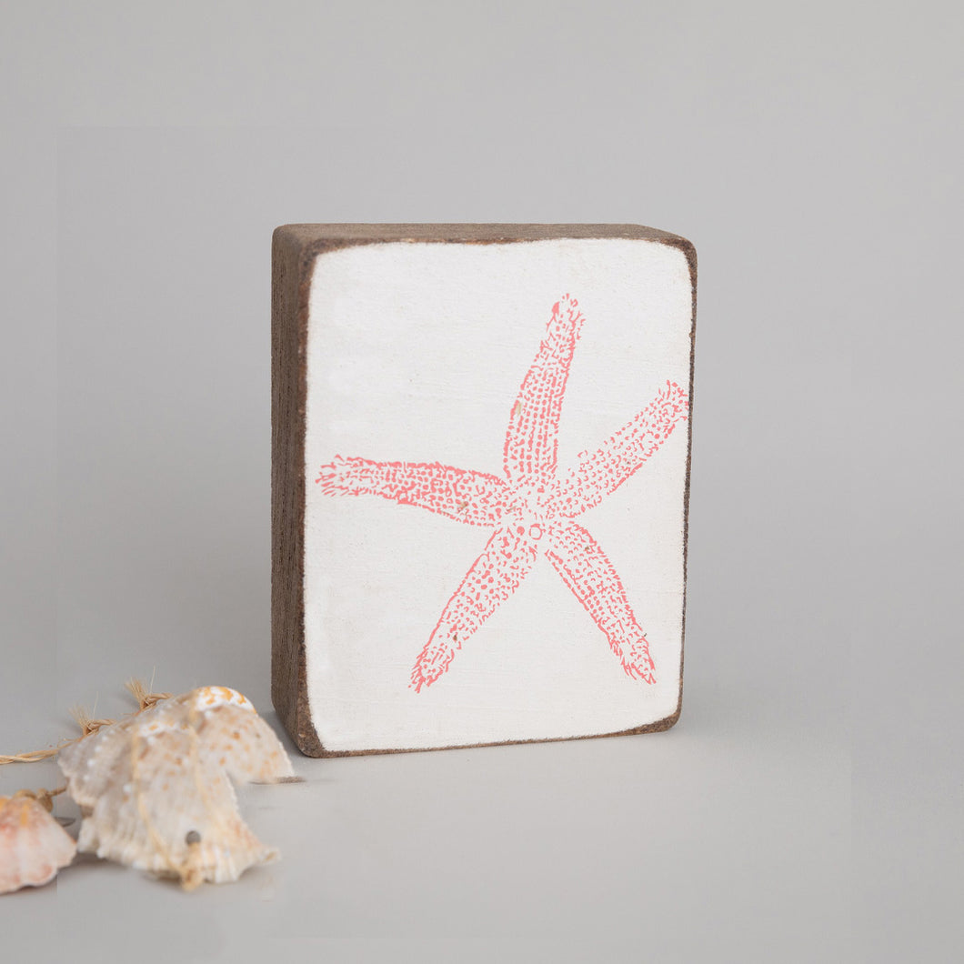 Starfish Decorative Wooden Block