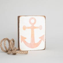 Load image into Gallery viewer, Pink Ombré Anchor Decorative Wooden Block