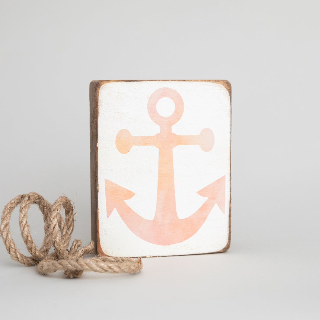 Pink Ombré Anchor Decorative Wooden Block
