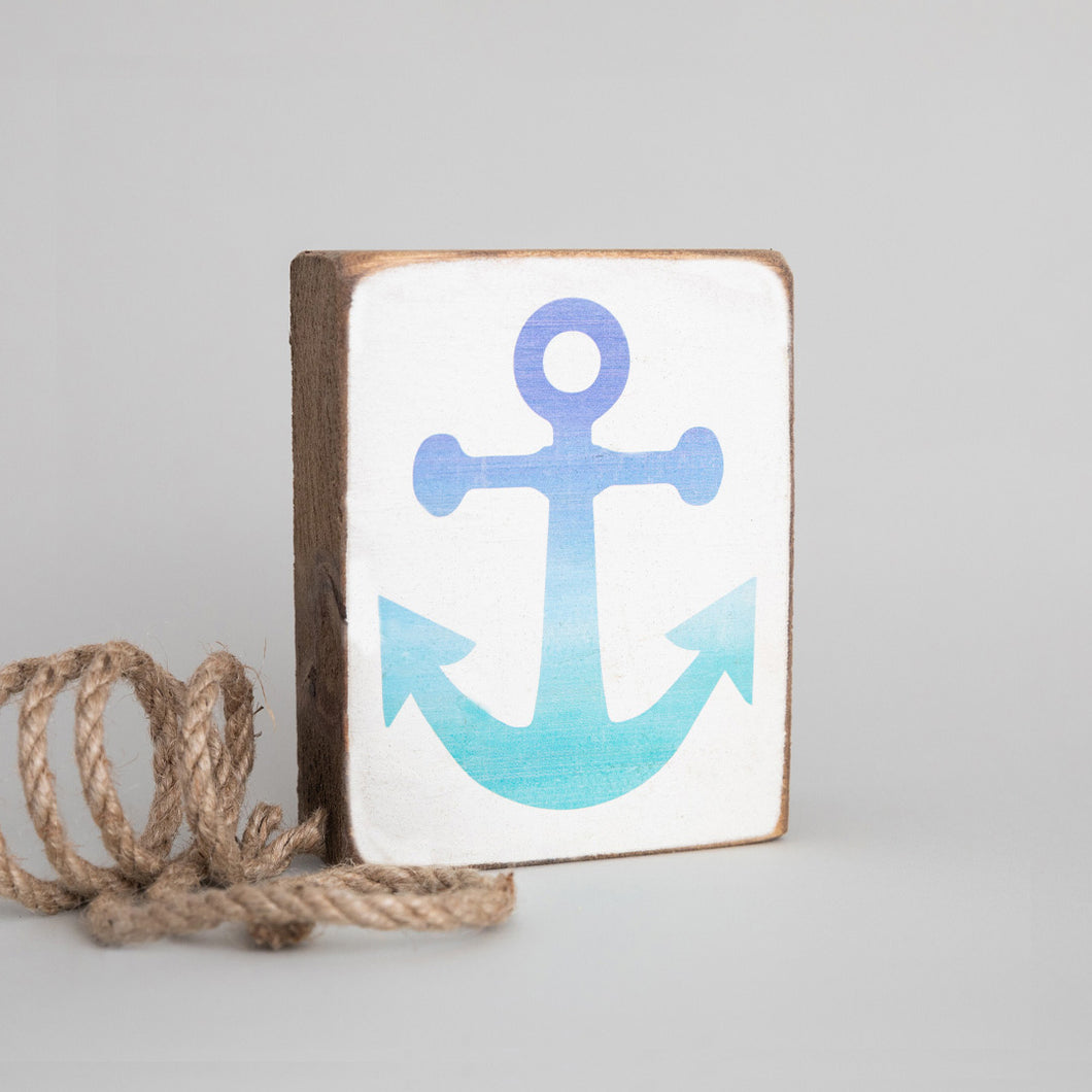 Blue Ombré Anchor Decorative Wooden Block