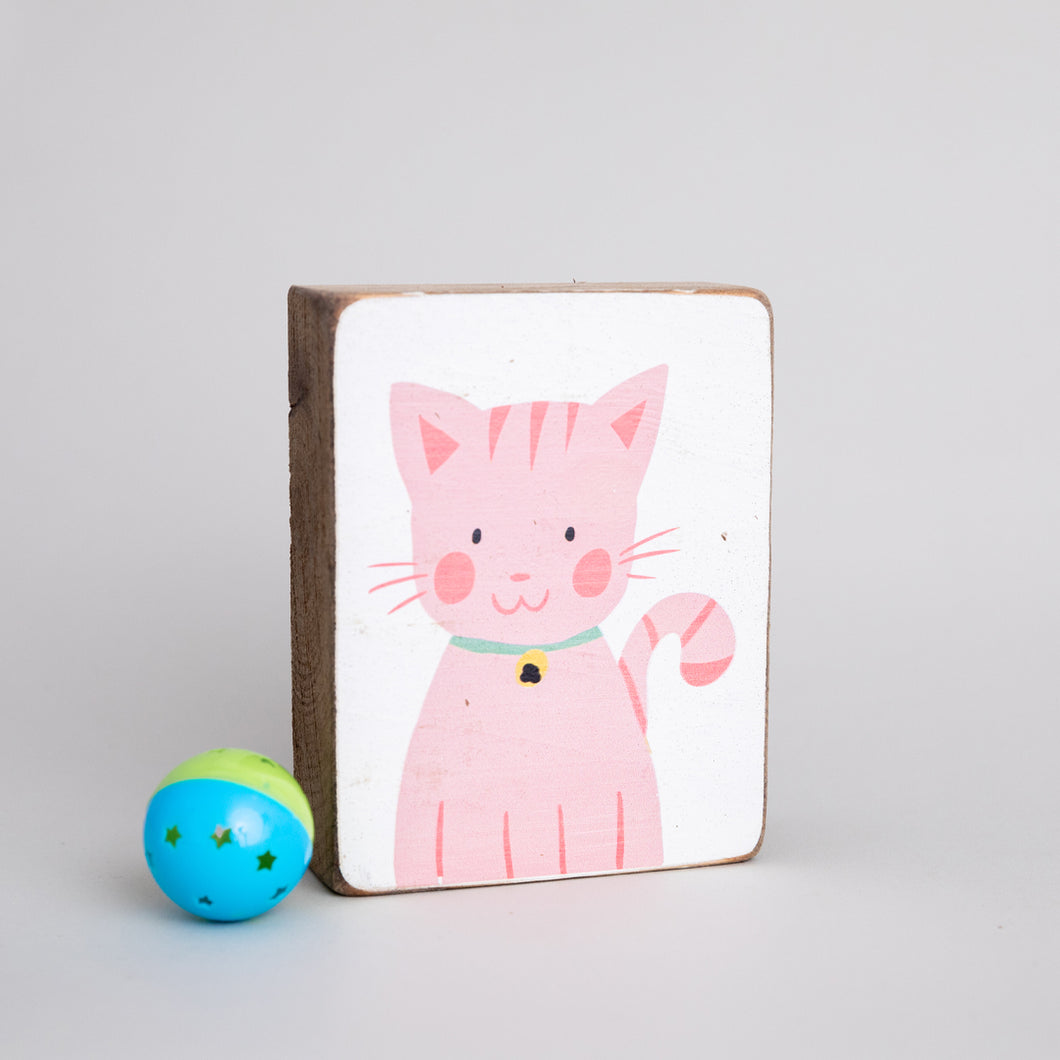 Kitty Decorative Wooden Block