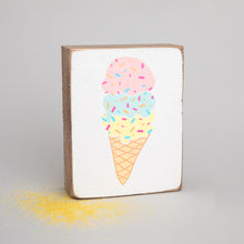 Load image into Gallery viewer, Ice Cream Decorative Wooden Block