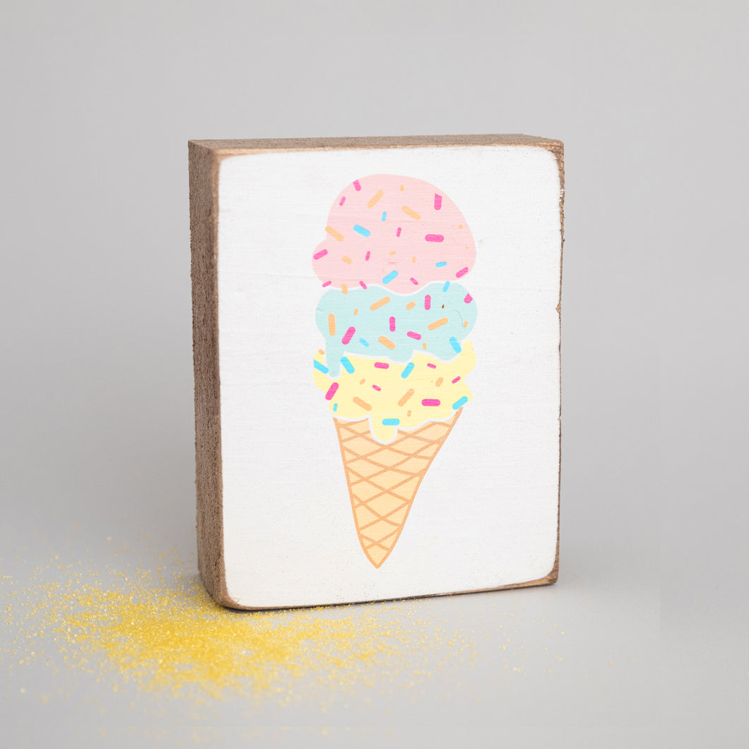 Ice Cream Decorative Wooden Block