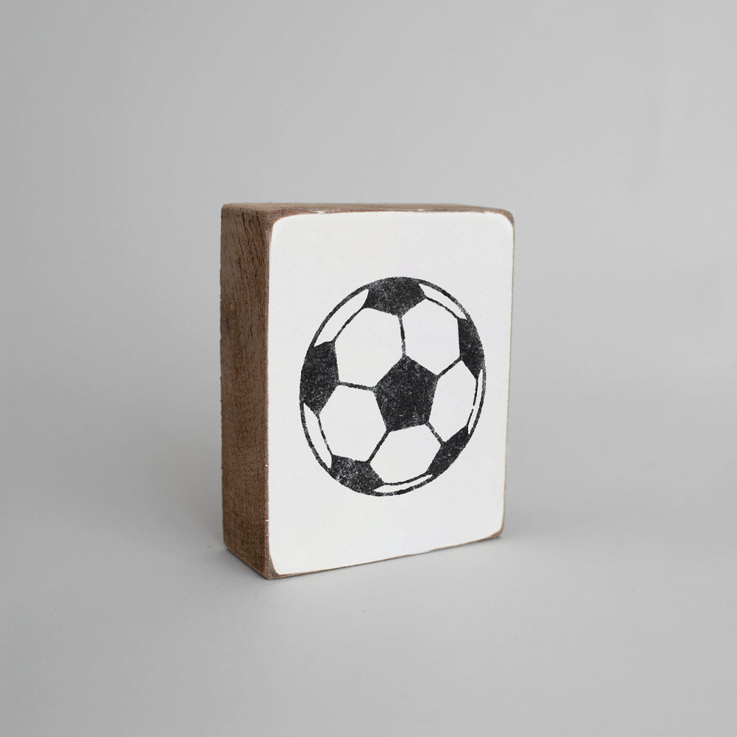 Soccer Ball Decorative Wooden Block