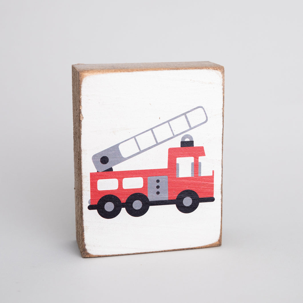 Fire Truck Decorative Wooden Block