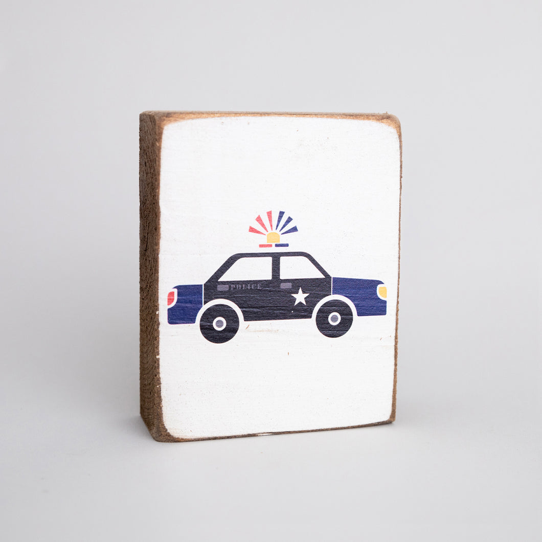 Police Car Decorative Wooden Block