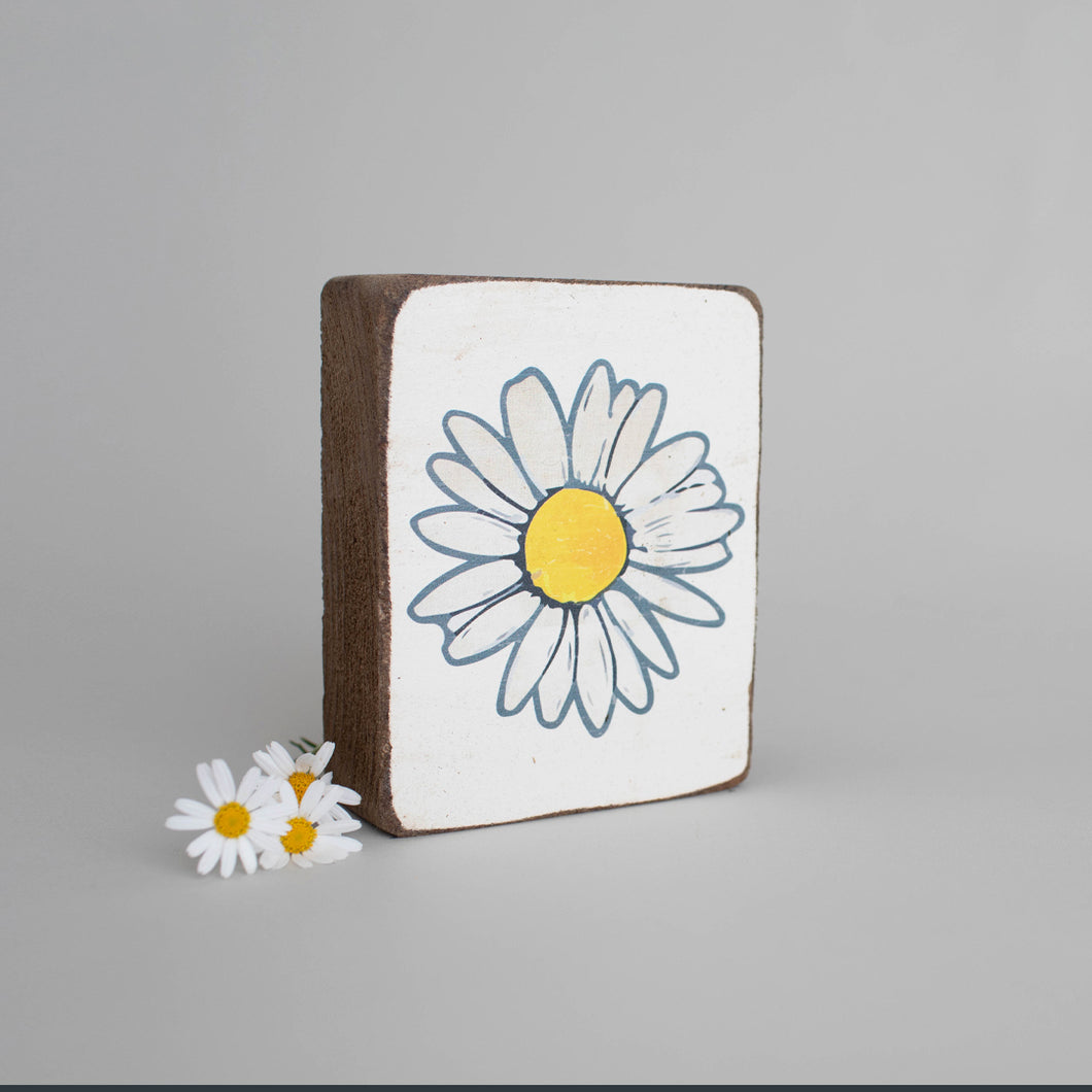 Daisy Decorative Wooden Block