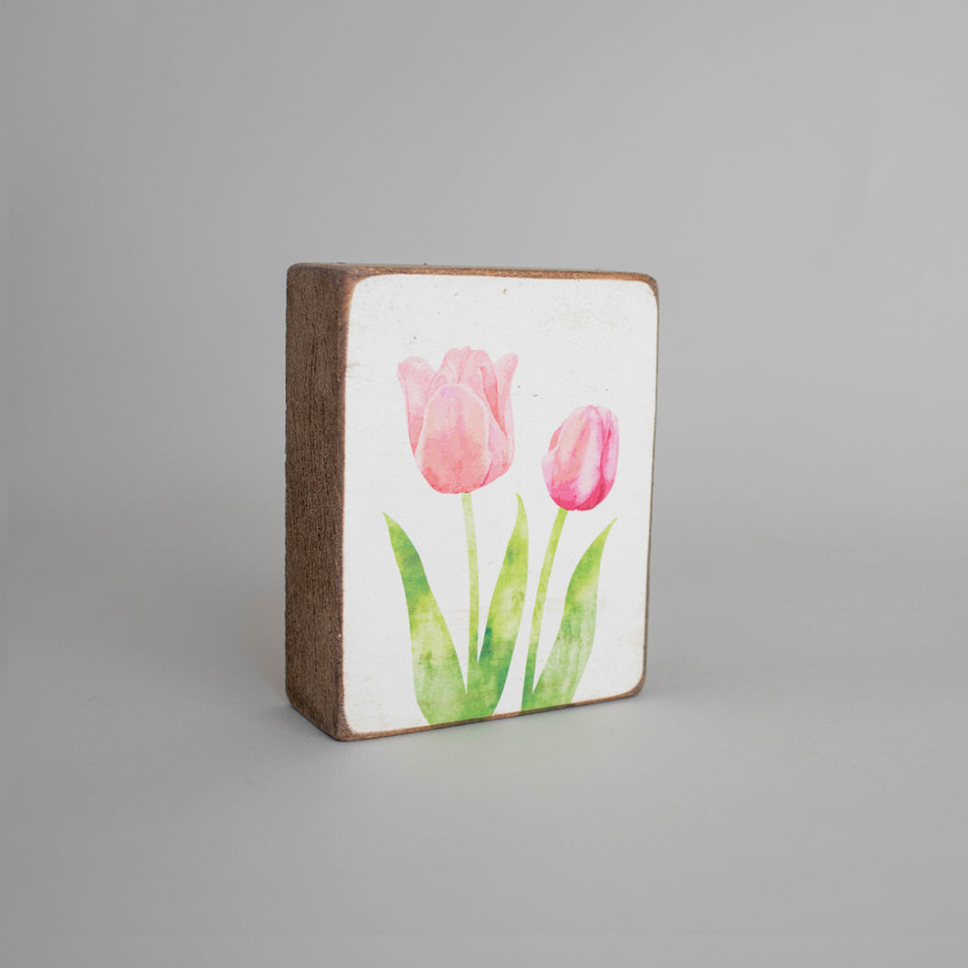 Tulips Decorative Wooden Block