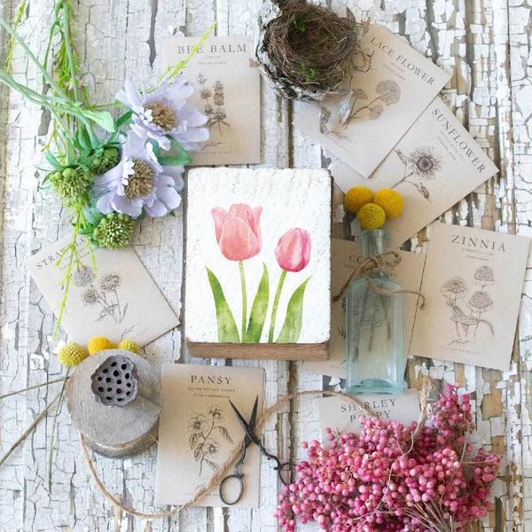 Tulips Rustic Block