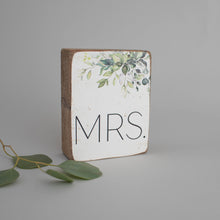 Load image into Gallery viewer, Greenery Mrs. Decorative Wooden Block