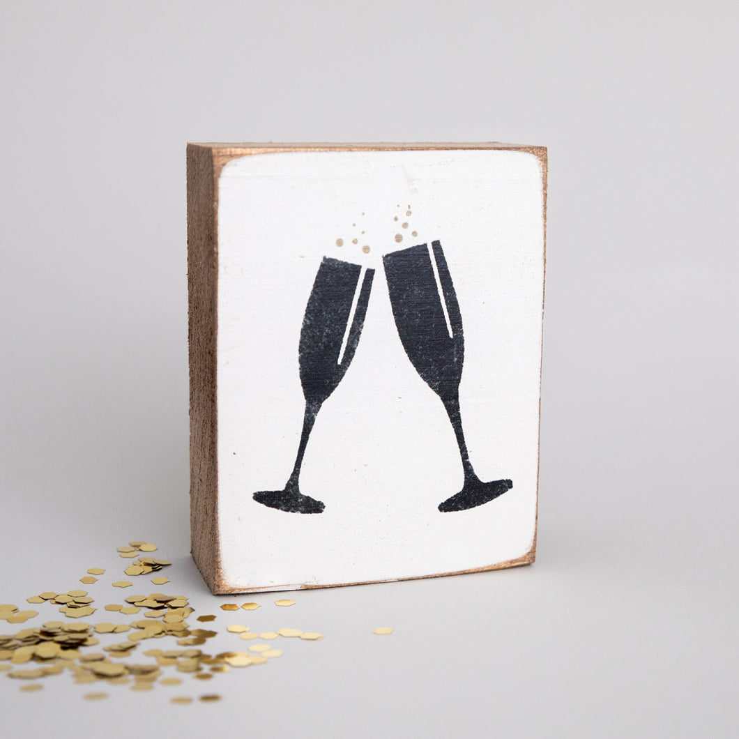 Champagne Glasses Decorative Wooden Block