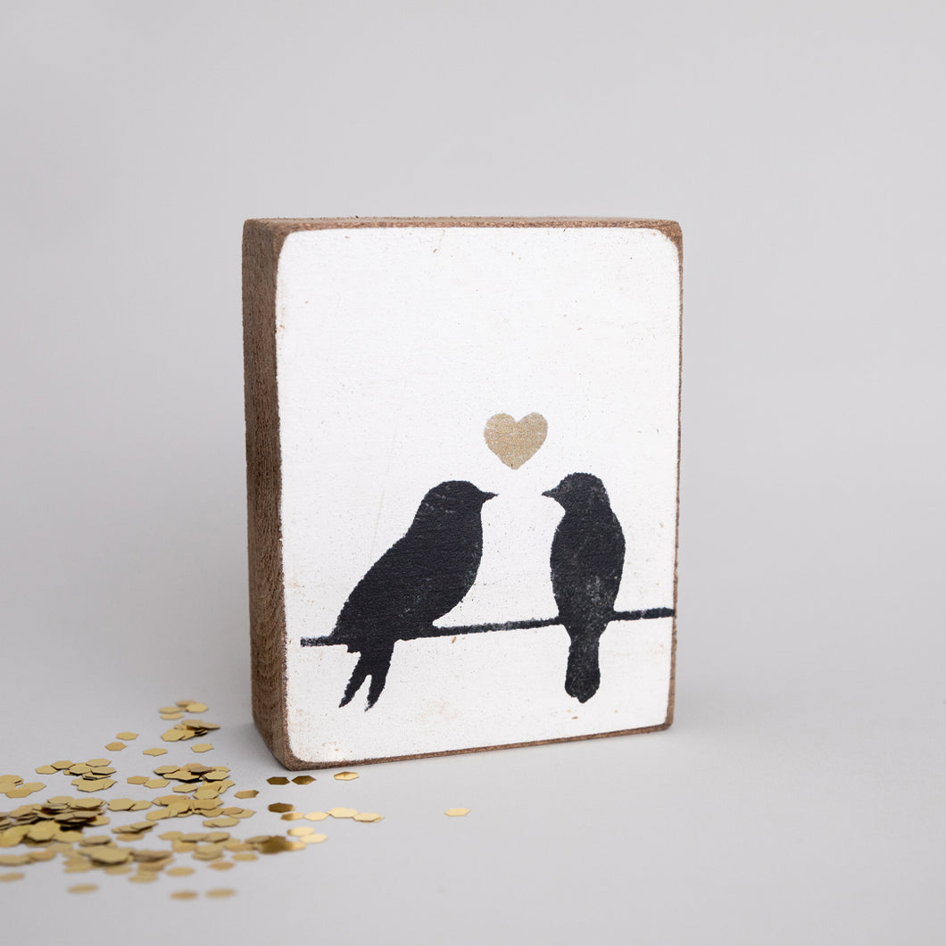Love Birds Decorative Wooden Block