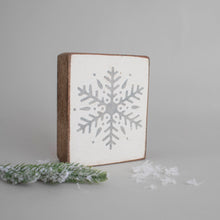 Load image into Gallery viewer, Grey Snowflake Decorative Wooden Block