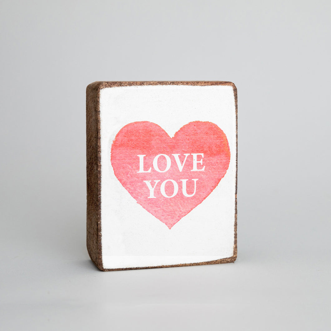 Love You Heart Decorative Wooden Block