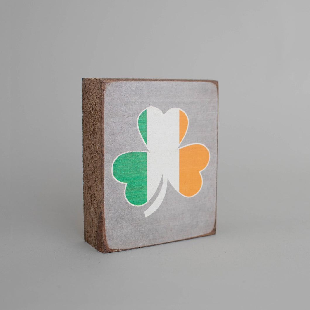 Irish Shamrock Decorative Wooden Block