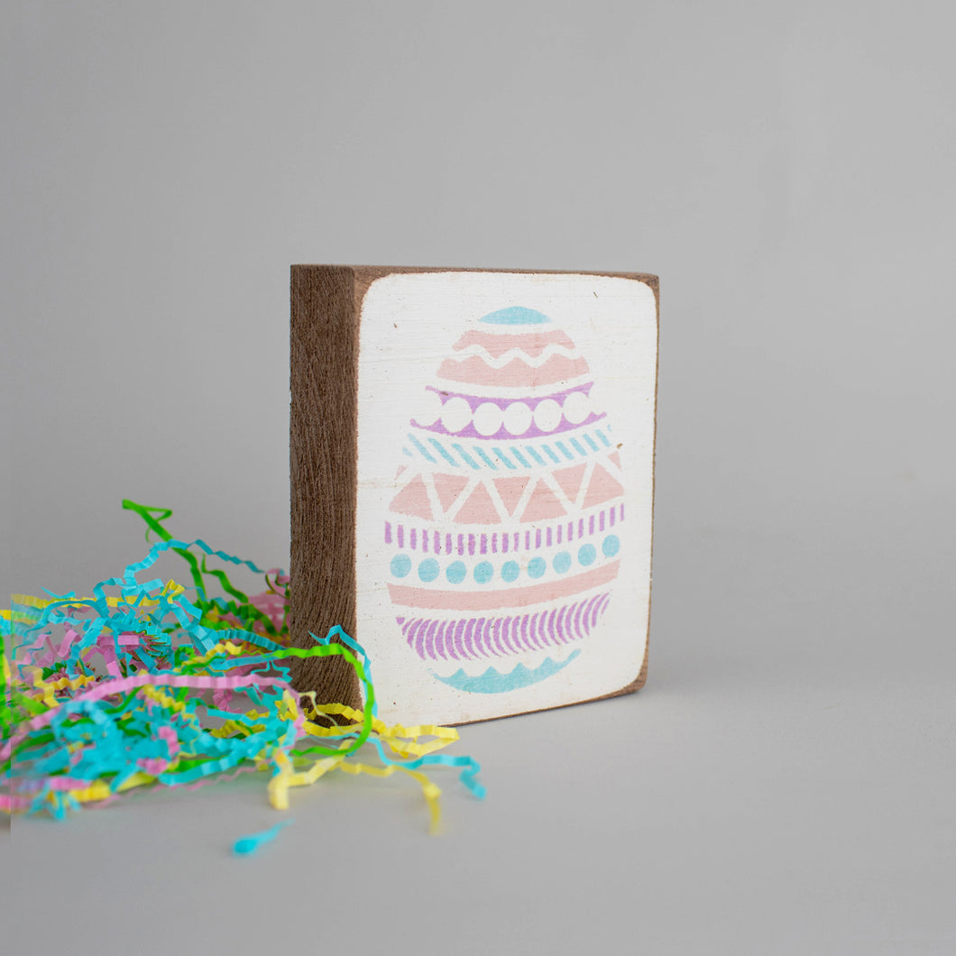 Easter Egg Decorative Wooden Block