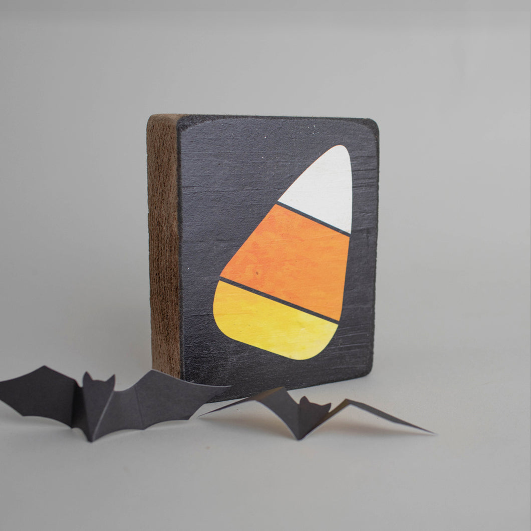 Candy Corn Decorative Wooden Block