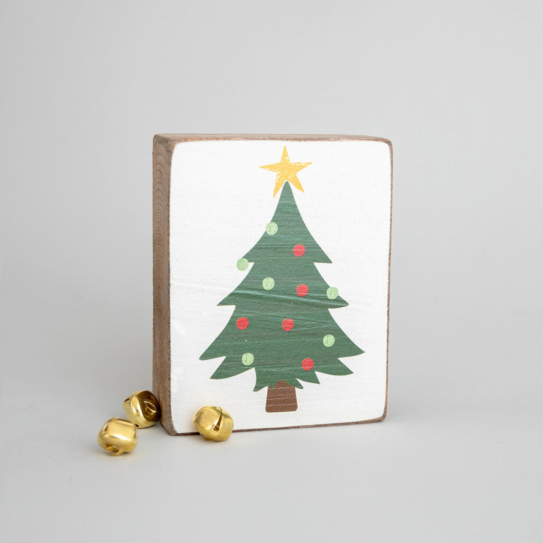 Christmas Tree Decorative Wooden Block
