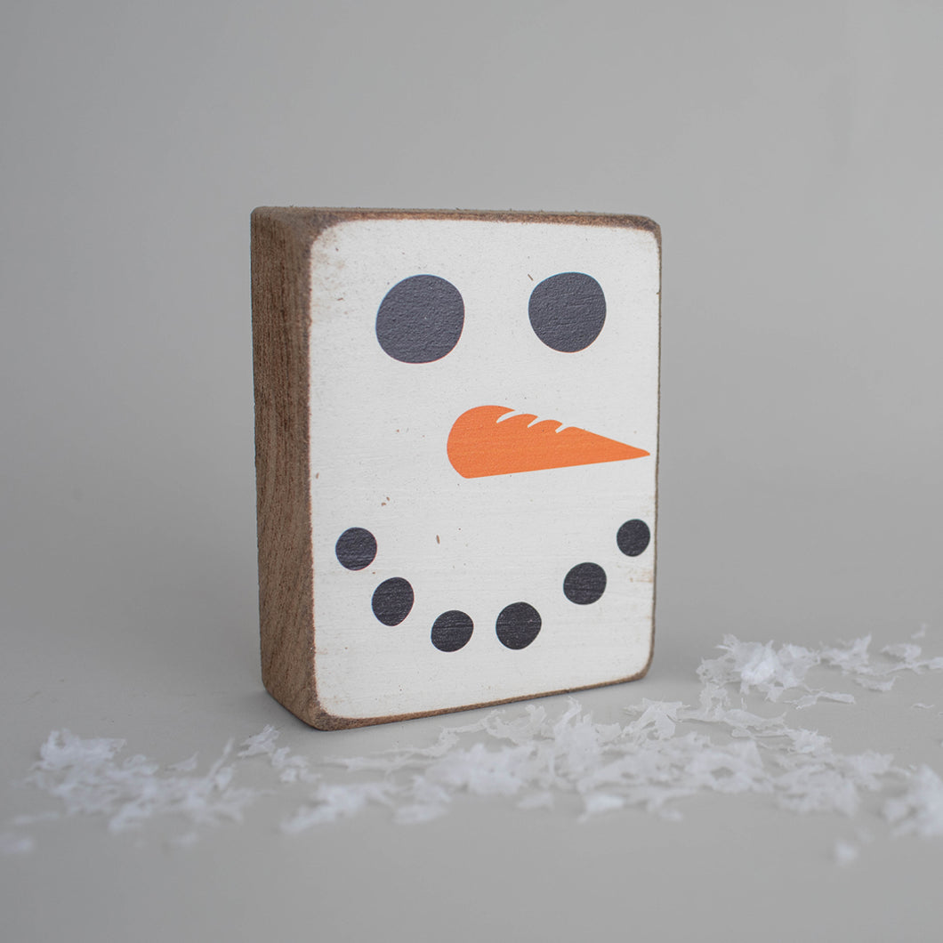 Snowman Face Decorative Wooden Block