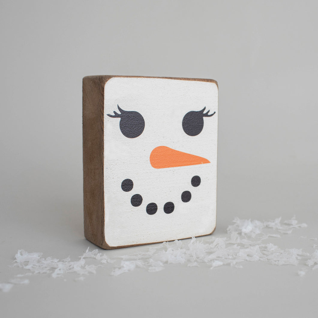 Snowlady Face Decorative Wooden Block