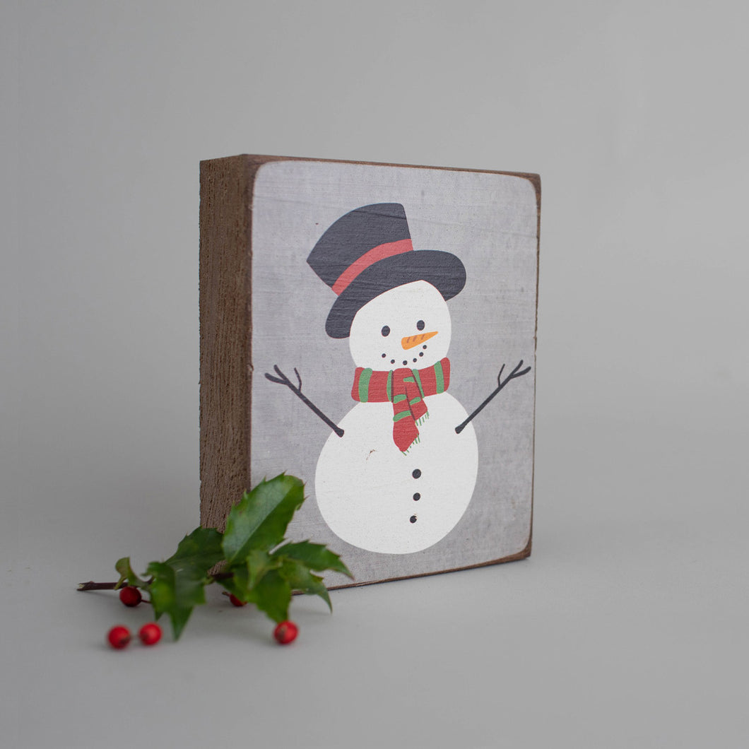 Snowman Decorative Wooden Block