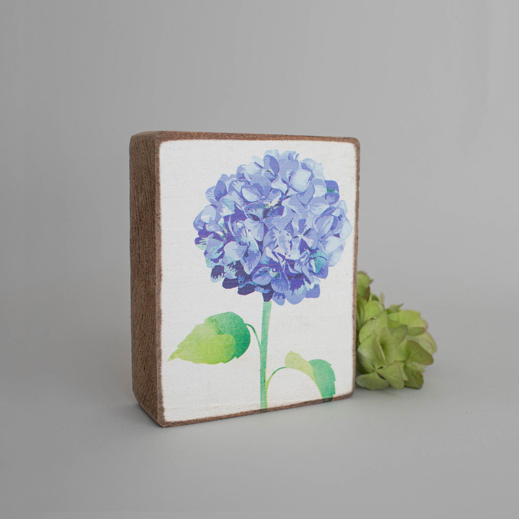 Blue Hydrangea Decorative Wooden Block