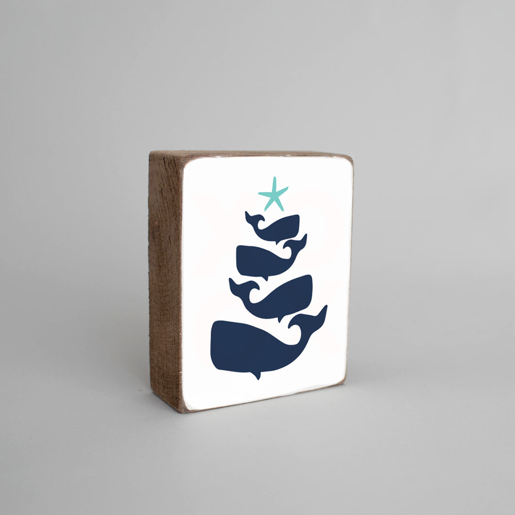 Whale Christmas Tree Decorative Wooden Block