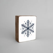 Load image into Gallery viewer, Navy Snowflake Decorative Wooden Block