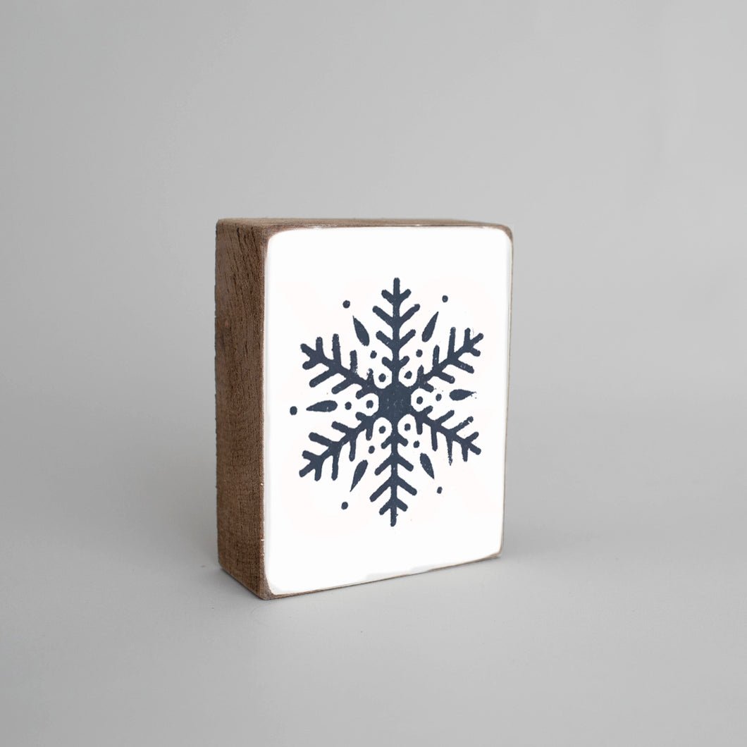 Navy Snowflake Decorative Wooden Block