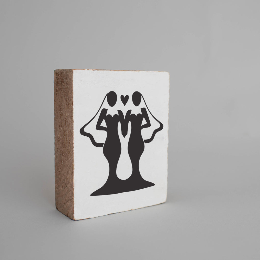 Brides Decorative Wooden Block