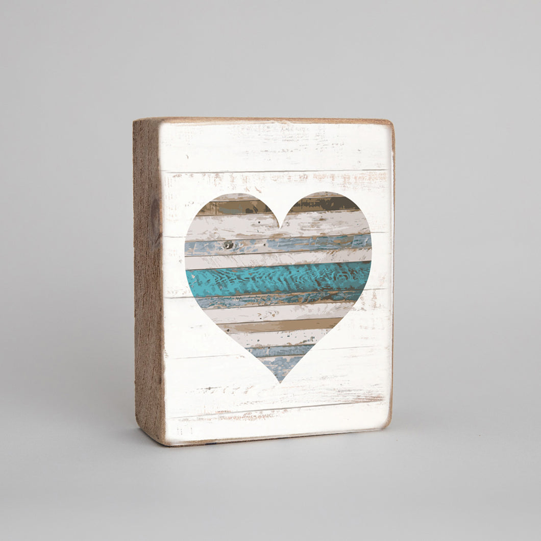 Shiplap Heart Decorative Wooden Block