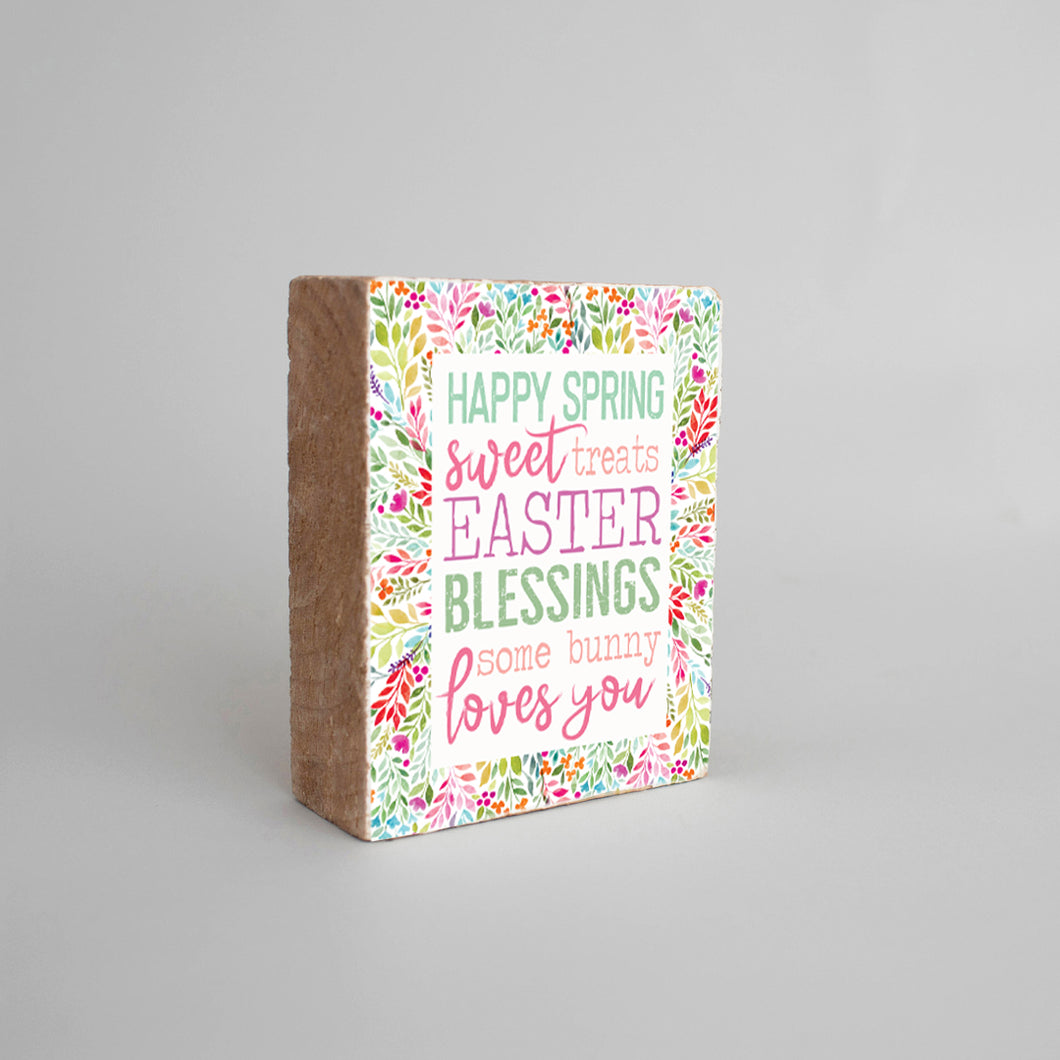 Spring Blessings Decorative Wooden Block
