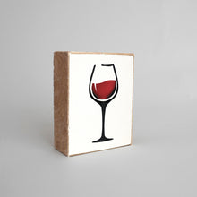 Load image into Gallery viewer, Wine Glass Decorative Wooden Block