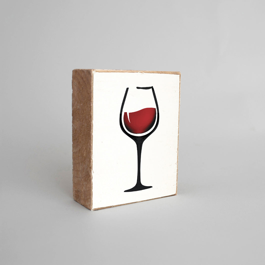 Wine Glass Decorative Wooden Block