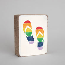 Load image into Gallery viewer, Rainbow Flip Flops Decorative Wooden Block