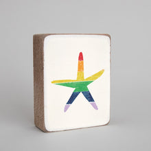 Load image into Gallery viewer, Rainbow Starfish Decorative Wooden Block