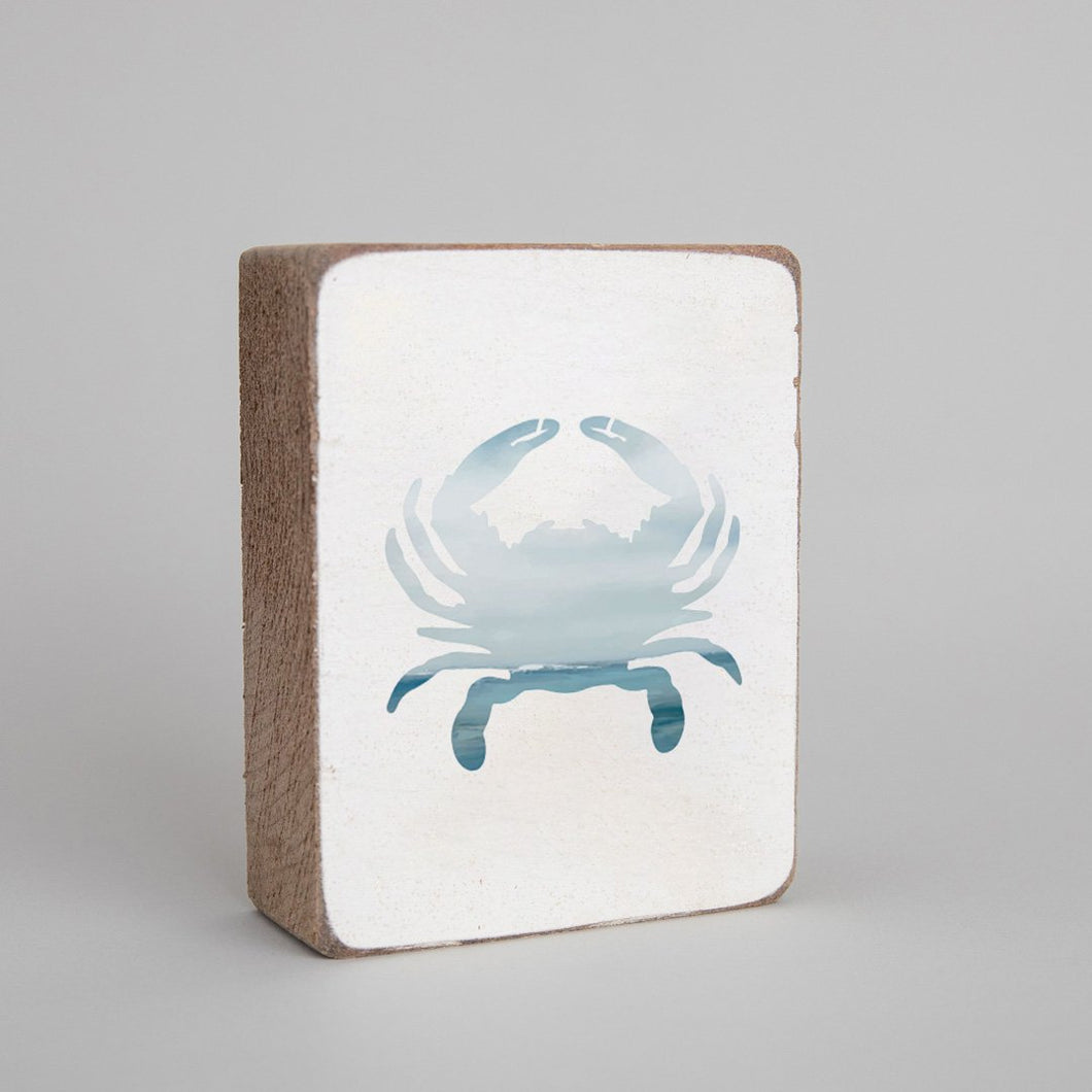 Seascape Crab Decorative Wooden Block