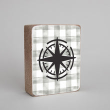 Load image into Gallery viewer, Grey Plaid Compass Decorative Wooden Block