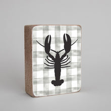 Load image into Gallery viewer, Grey Plaid Lobster Decorative Wooden Block