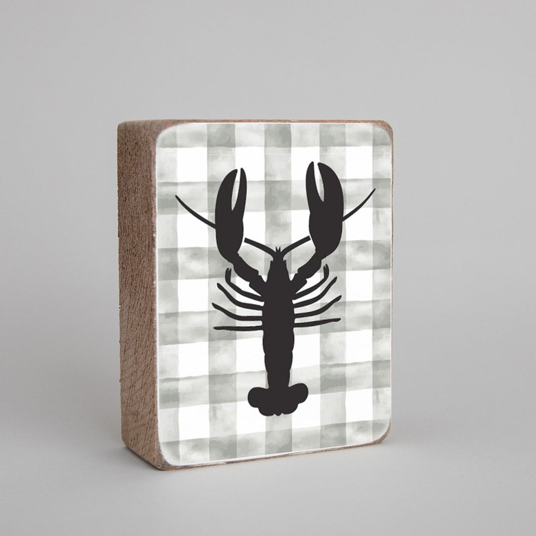 Grey Plaid Lobster Decorative Wooden Block