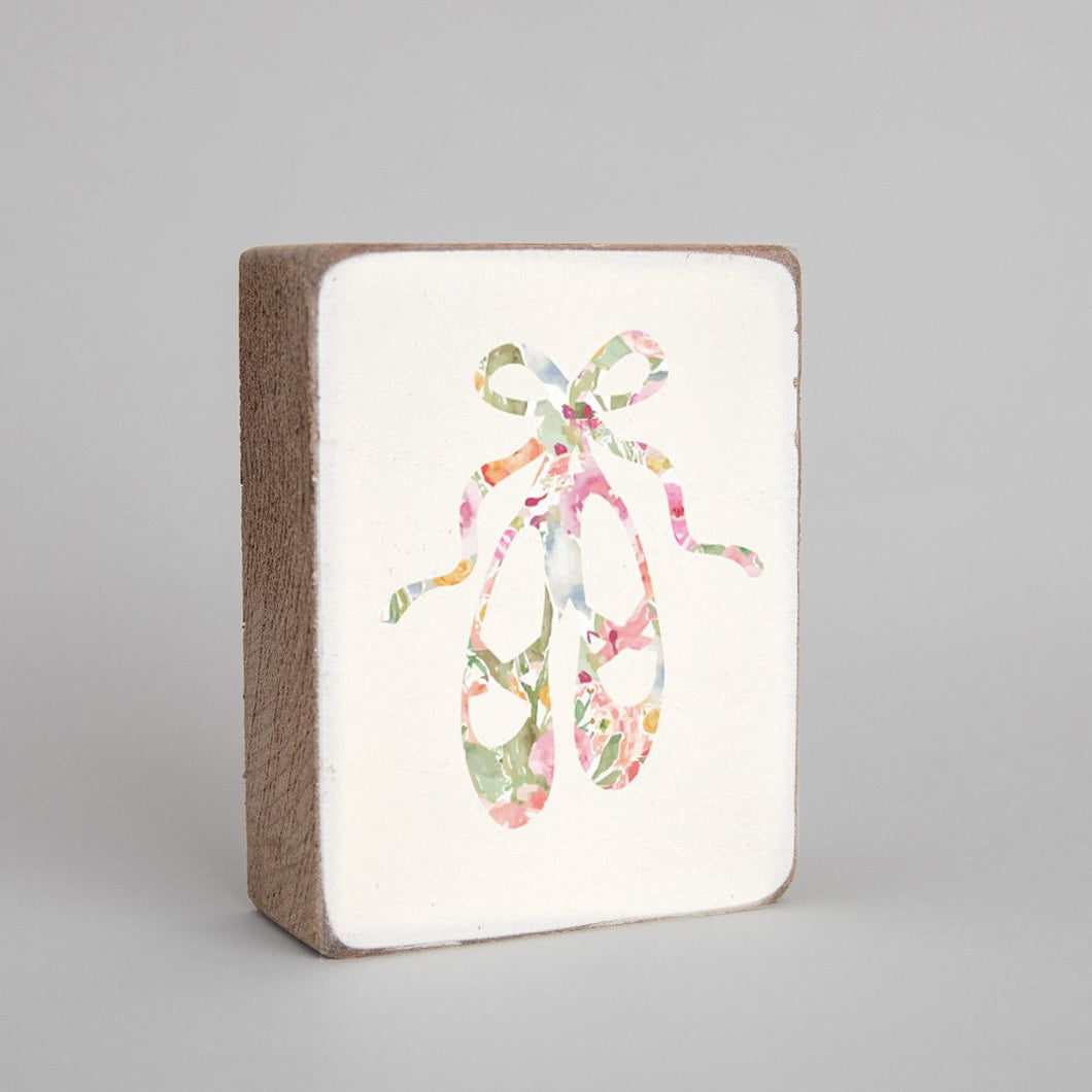 Pink Floral Ballet Slippers Decorative Wooden Block