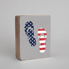 Load image into Gallery viewer, Americana Flip Flops Decorative Wooden Block