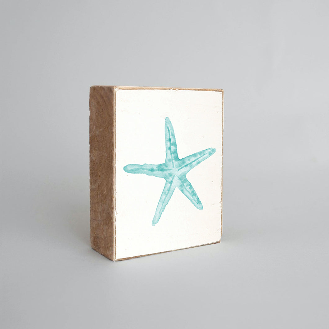Watercolor Starfish Decorative Wooden Block