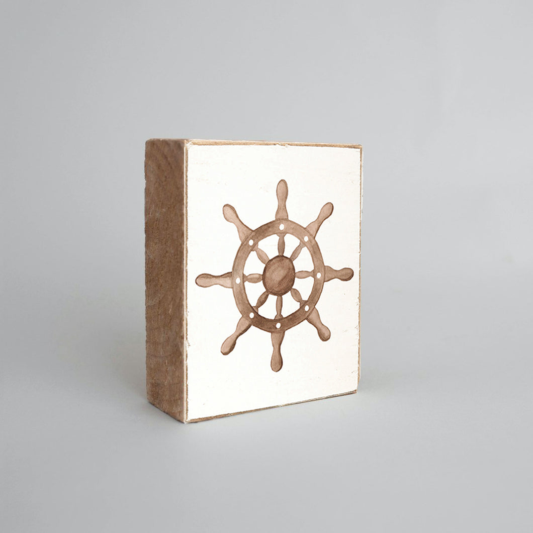 Watercolor Ships Wheel Decorative Wooden Block