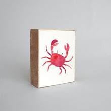 Load image into Gallery viewer, Watercolor Crab Decorative Wooden Block